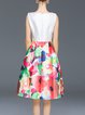White A-line Floral-print Elegant Midi Dress