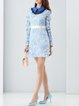 Light Blue Girly Guipure lace Beaded Mini Dress