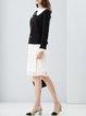 Black Long Sleeve Shift Ruffled Color-block Cropped Jacket