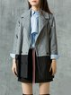 Gray Color-block Long Sleeve Lapel Coat