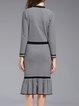 Ruffled Elegant Long Sleeve Sweater Dress