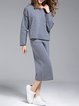 Gray Long Sleeve Knitted Two Piece Wool Jumpsuit