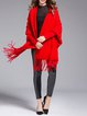 Knitted Fringed Batwing Casual Cape