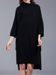 Knitted 3/4 Sleeve Plain High Low Sweater Dress