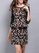 Black Sheath Crew Neck Elegant Printed Mini Dress