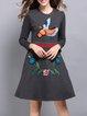 Gray Crew Neck A-line Elegant Embroidered Midi Dress