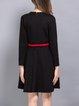 Black Embroidered Long Sleeve Midi Dress