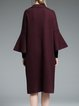 Wine Red Plain Frill Sleeve H-line Pockets Coat