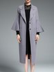 Gray Frill Sleeve Plain Wool Coat