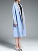 Light Blue H-line Plain Color-block Wool Coat