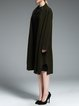 Dark Green Cashmere Slit Long Sleeve Plain Coat