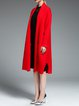 Red Plain Long Sleeve H-line Pockets Cashmere Coat