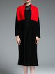 Red Long Sleeve Fringed Wool Pockets Coat