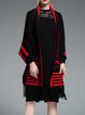 Black Fringed Plain Knitted Casual Cape