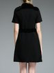 Black Buttoned Plain Elegant A-line Mini Dress