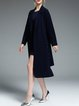 Navy Blue Long Sleeve Lapel High Low Coat