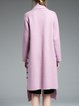 Pink Lapel Simple Long Sleeve High Low Coat