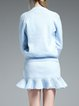 Ruffled Two Piece Knitted Simple Pockets Mini Dress
