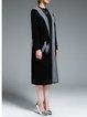 Black Long Sleeve Plain Jacquard Hoodie Coat