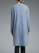 Light Blue High Low Fringed Simple Coat