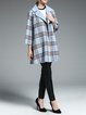 Light Blue Checkered/Plaid Simple Wool Coat
