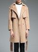 Apricot Simple Plain Paneled Wool Coat
