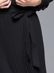 Pleated Statement Polyester Long Sleeve Coat with Belt