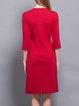Red Ruffled Elegant Midi Dress