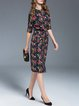 Multicolor Elegant Floral Printed Midi Dress