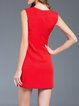Red Simple V Neck Zipper Mini Dress