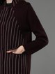 Wine Red Long Sleeve Pockets Stand Collar Coat
