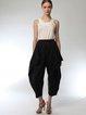 Black Folds Casual Solid Cotton Straight Leg Pants