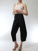 Black Elegant Asymmetrical Plus Size Track Pants