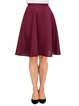Burgundy Solid Casual A-line Midi Skirt