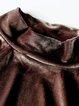 Coffee H-line Velvet Slit Casual Long Sleeved Top