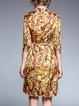Yellow 3/4 Sleeve Stand Collar Midi Dress