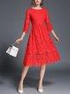 Crew Neck A-line Elegant 3/4 Sleeve Guipure Lace Midi Dress