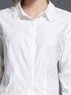 White Simple Floral-print Shirt Collar Blouse