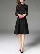 Elegant Buttoned Stand Collar Midi Dress
