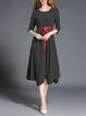 Black 3/4 Sleeve Stripes Printed Midi Dress