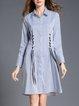 Blue A-line Printed Elegant Midi Dress