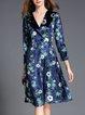 Navy Blue Elegant A-line Midi Dress