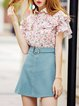 Pink Shirt Collar Frill Sleeve Ruffled Floral Blouse