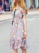 Multicolor A-line Short Sleeve V Neck Floral-print Midi Dress