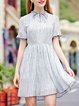 Gathered Printed Bell Sleeve A-line Stand Collar Girly Mini Dress