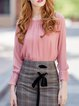 Pink Polyester Long Sleeve Blouse
