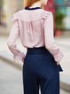 Pink Long Sleeve Crew Neck Beaded Blouse