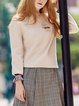 Crew Neck Embroidery Frill Sleeve Casual Letter Top