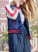 Blue Raglan Sleeve Embroidered Stand Collar Bomber Jacket