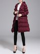 Wine Red Pleated Plain Casual Coat